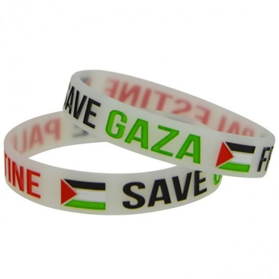 Free Palestine Save Gaza armbandje (transparant wit)