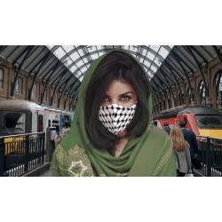 Kufiya mondmasker (Zwart wit visnet patroon)