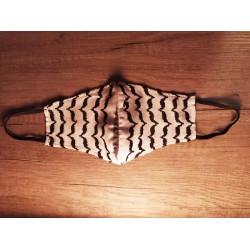 Kufiya mondmasker (Zwart wit golven patroon)